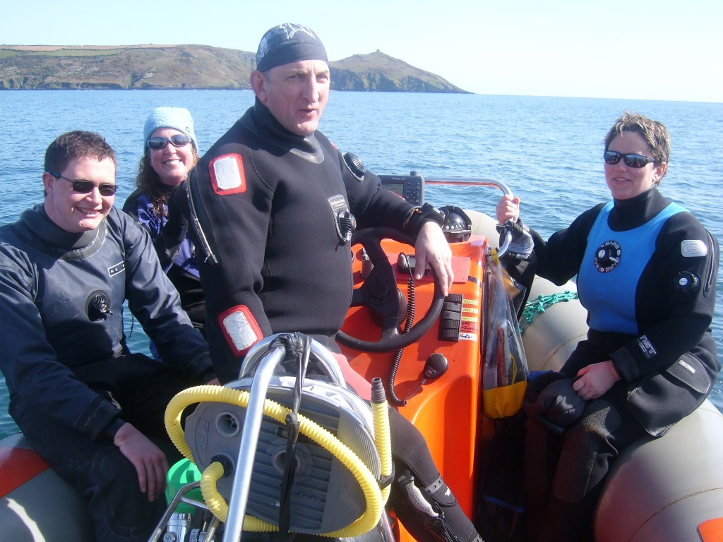 Divers on our club boat in Whitsand Bay